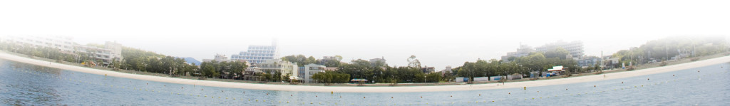 海から見た白良浜